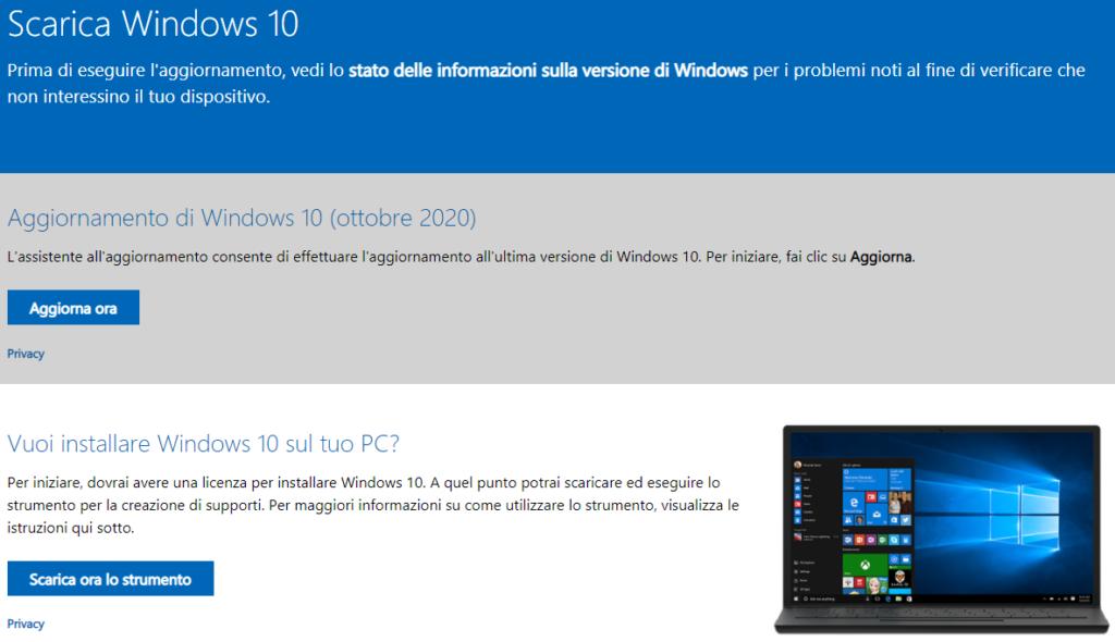 Installare Windows 10 20H2